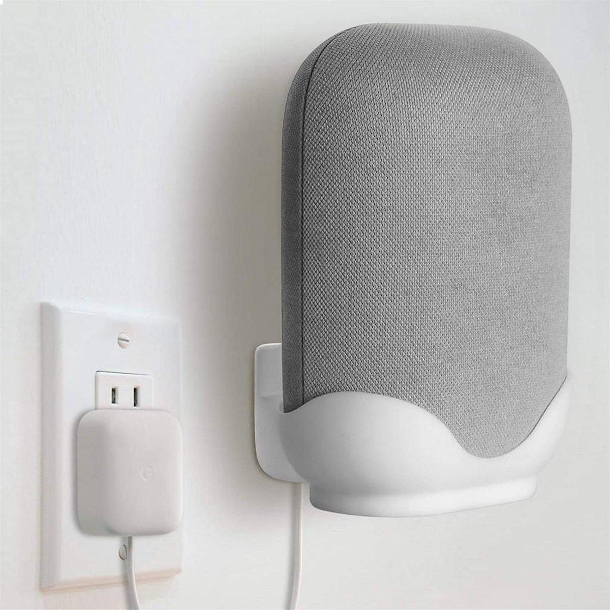 Luxe Wandsteun / Tafel Dock Charger Standaard Houder Voor Google Nest Audio Smart Speaker - Muurbeugel Wand Docking Station Oplaadstation Beugel Case Mount - Desk Muur Stand Steun - Ophang Wandbeugel Laadstation - Muursteun - Wit