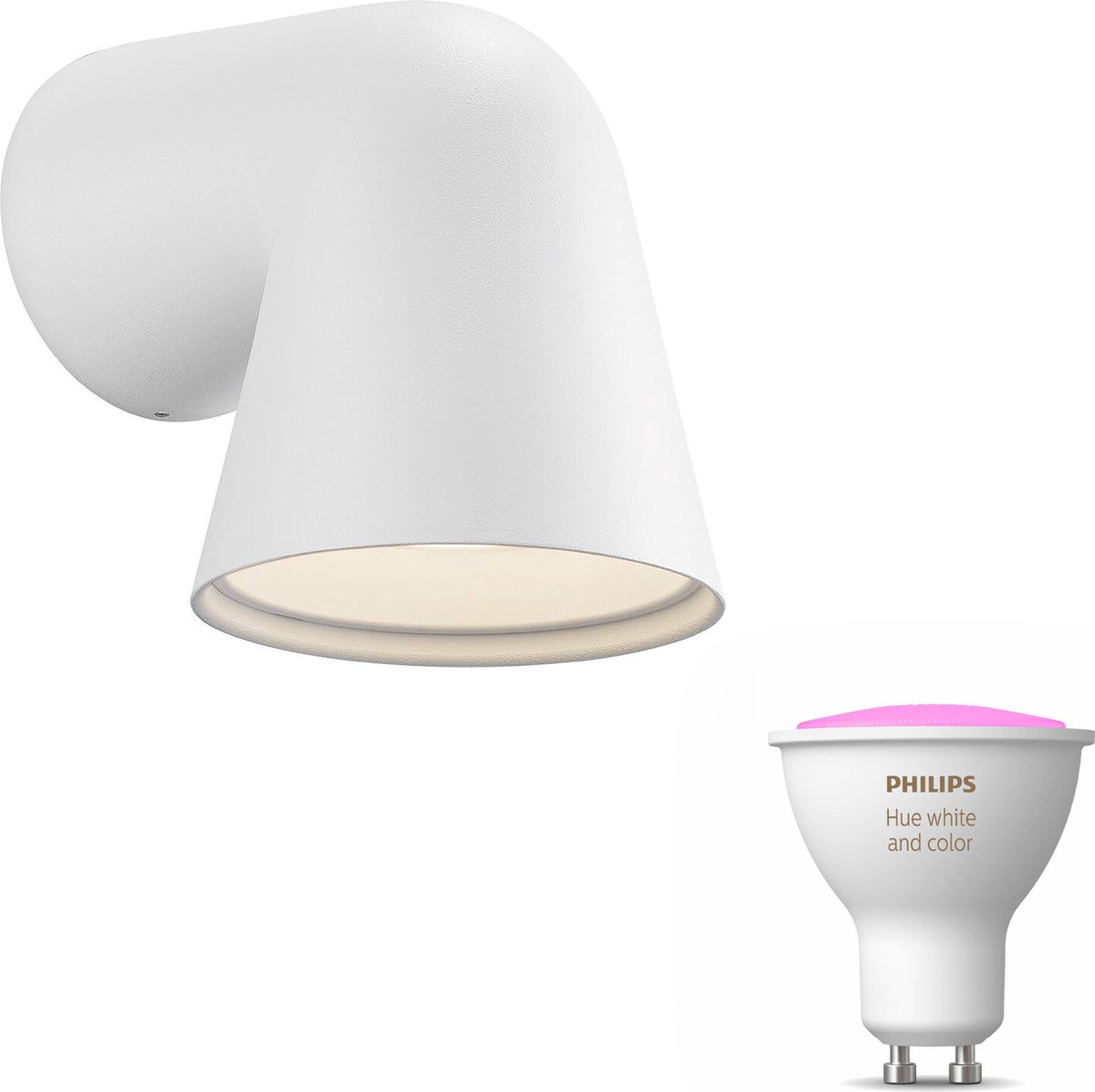 Nordlux Front wandlamp - wit - 1 lichtpunt - Incl. Philips Hue White & Color Ambiance Gu10Nordlux Front wandlamp - wit - 1 lichtpunt - Incl. Philips Hue White & Color Ambiance Gu10