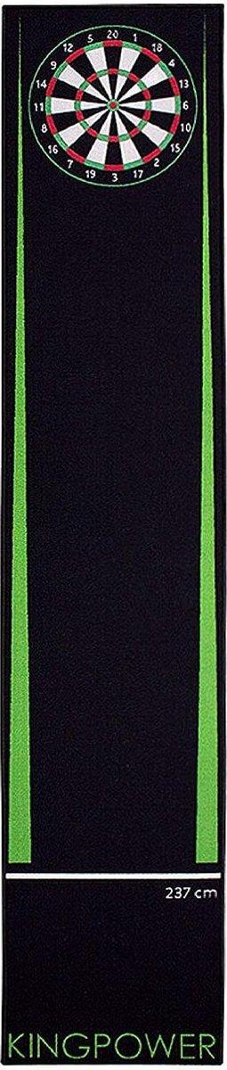 dartmat -Kingpower Dart Carpet Green Target Oche Mat Steel Darts Dartboard Accessories Dart Carpet Darts Throw Line Protection Rubber Floor Dartboard 290 x 60 cm- (WK 02127)