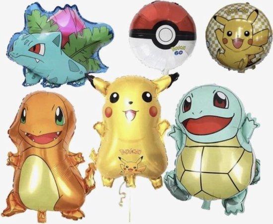 Pokemon folie ballon XL, 6 folie ballonnen, Pokemon go, Pikachu, feestversiering, verjaardag, Pokemon go