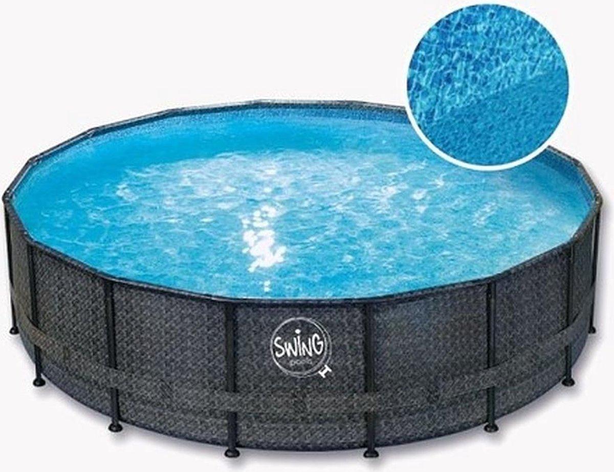 SWING Premium metalen frame zwembad Wicker donker design - rond opzet zwembad - opzetzwembad -frame pool - metalen frame zwembad - familie zwembad | Afmeting: 4,27 x 1,07 m