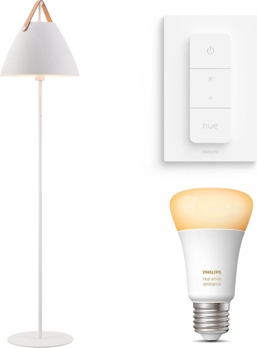 Nordlux Strap vloerlamp - LED - wit - 1 lichtpunt - Incl. Philips Hue White Ambiance E27 & dimmer