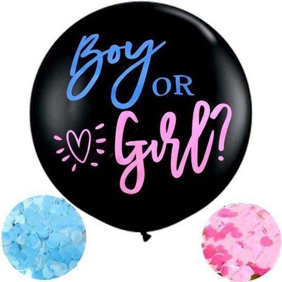 GBG Gender Reveal Ballon - Gender reveal versiering - Boy or Girl - Papieren Confetti - Geslachtsbekendmaking - Babyshower - 90 cm - Zwangerschap
