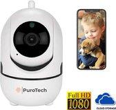 PuroTech Babyfoon met Camera - Full HD 1080P - Geluid en Bewegingsdetectie - 2-Weg Audio - Nachtvisie - Opslag in Cloud of App - Wit