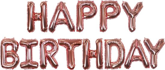 Happy Birthday Folie Ballon Rosé Goud Feestversiering Slinger Decoratie