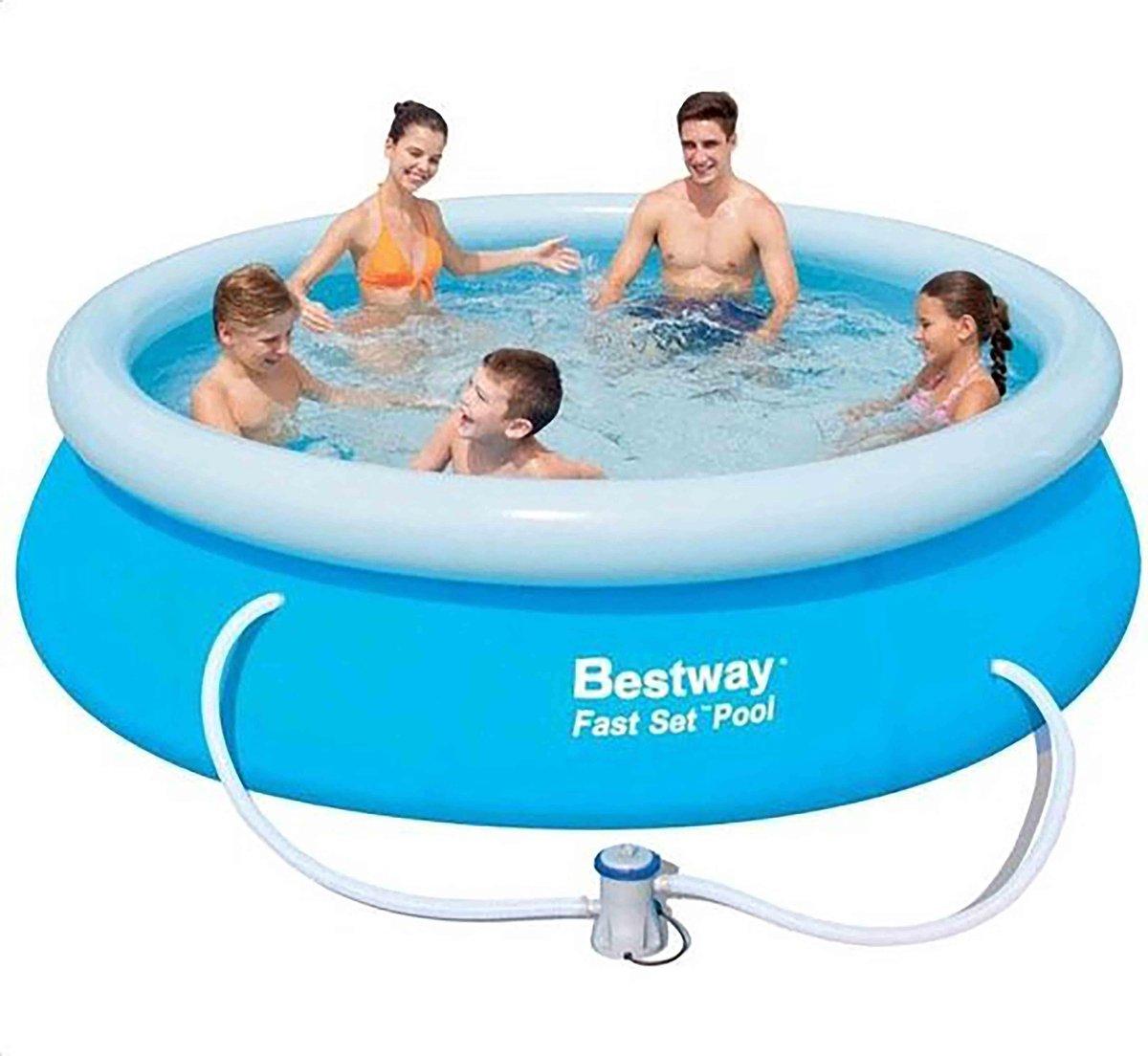 TWEE STUKS - Bestway opblaasbaar zwembad - Fast Set - diameter 305 cm, hoogte 76 cm - met filterpomp
