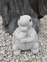 beeld schildpad de denker tuinbeeld figuur wit 19cm hoog beton