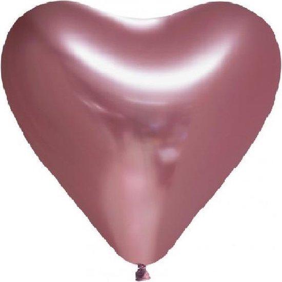 Chrome chroom hart Ballonnen Rose 12 inch=30cm – per 6st.