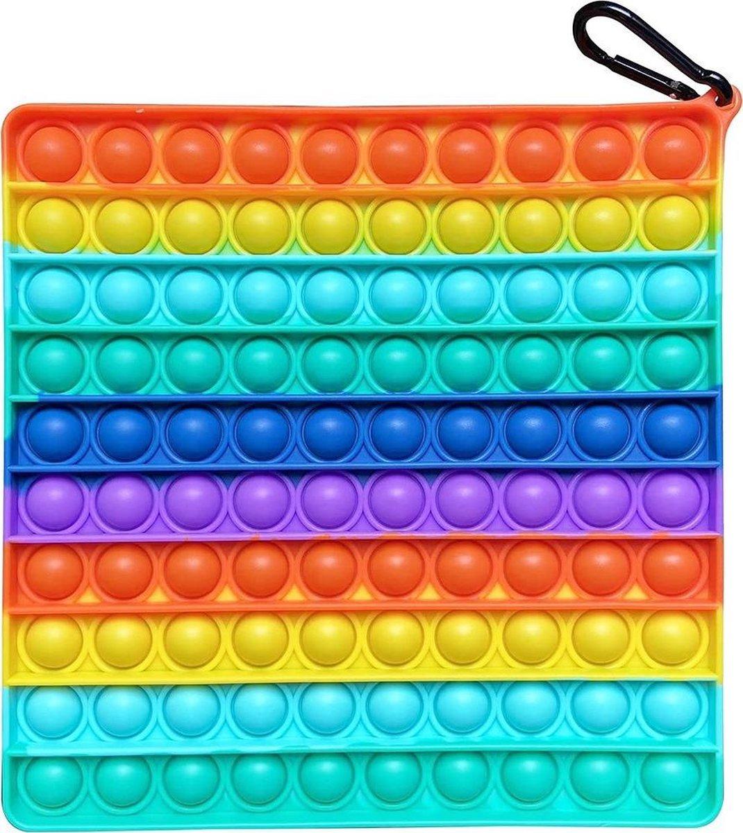 Pop it XL | Vierkant - 20 x 20 cm - Fidget Toy | Groot Formaat | Rainbow Vierkant