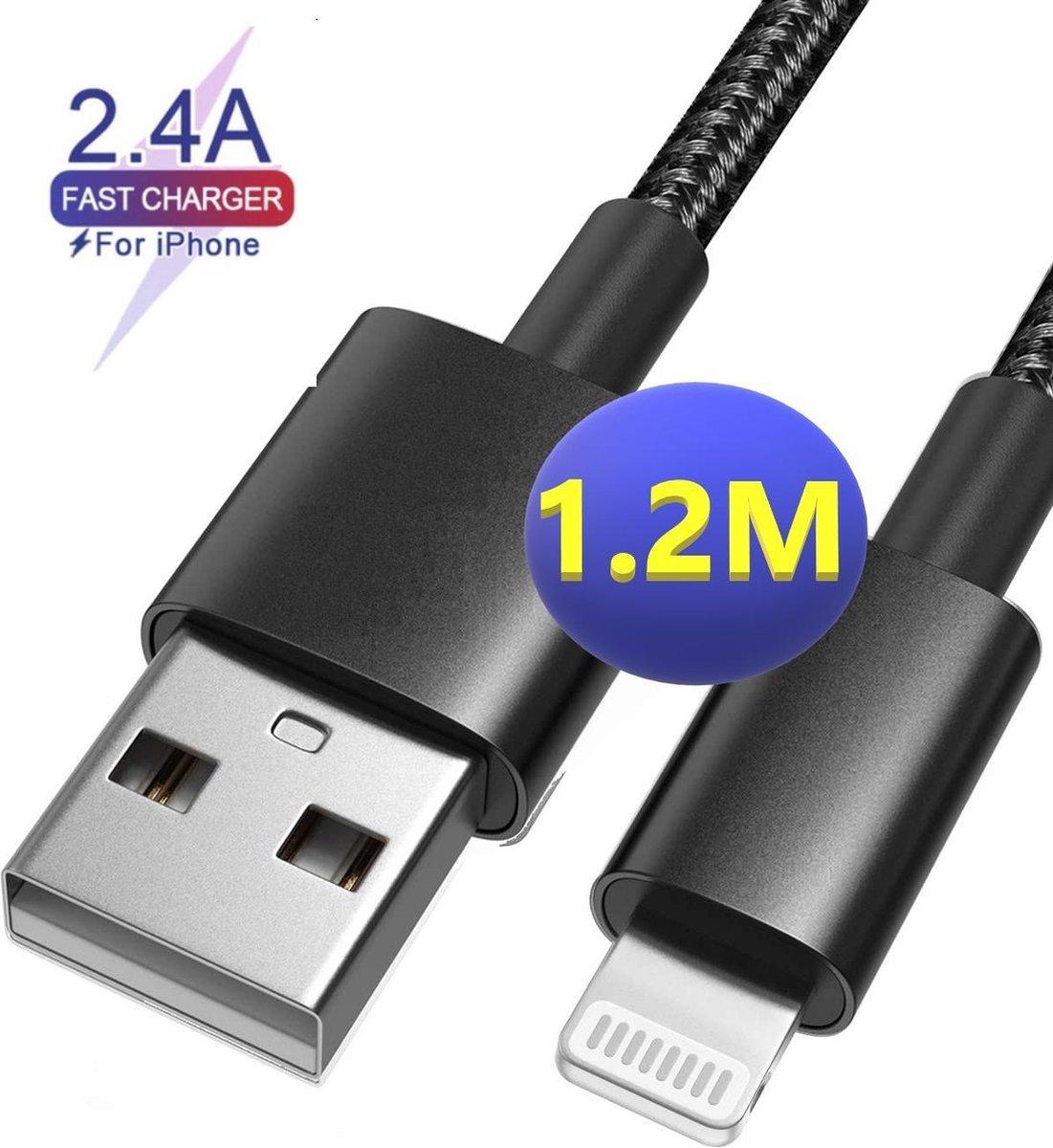 iPhone oplader kabel | 1M | Nylon | Geschikt voor Apple iPhone 6,7,8,X,XS,XR,11,12,Mini,Pro Max- iPhone kabel - iPhone oplaadkabel - iPhone snoertje - iPhone lader