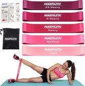 Panathletic Weerstandsbanden – Set van 5 – Handleiding – Opbergzakje – eBook met Extra Oefeningen – Roze