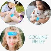 Navaris zelklevende cold packs - Set van 3 icepacks voor kinderen - Herbruikbaar koel kompres - Zelfklevende gelpads ter verkoeling - Kattendesign