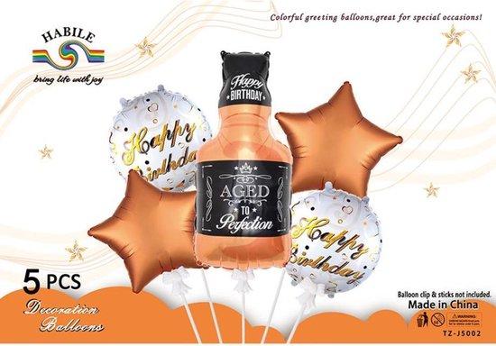 Folie ballon Set Whisky, Bruin, 5 stuks, Verjaardag, Happy Birthday, Feest, Party, Wedding, Decoratie, Versiering, Miracle Shop