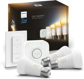 Philips Hue Starterspakket E27 Lichtbron met Bridge en Dimmer Switch - White Ambiance - 3 x 9W - Bluetooth