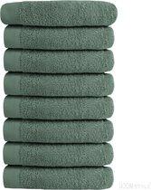 HOOMstyle Luxe Handdoek SET 8x - 650grs Soft Cotton - Extra dik - 50x100cm – Olijfgroen – Voordeelset 8 stuks