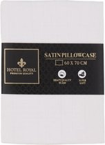 Hotel Royal | Satijnen kussensloop | Wit | 60x70 cm | Zachte kussensloop gemaakt van satijn | Kussen sloop | Kussen hoes | Satin pillowcase