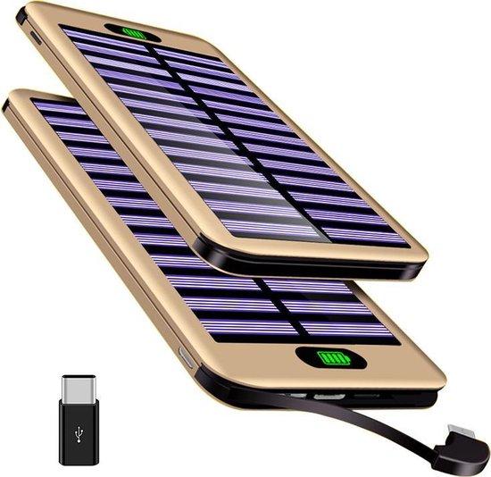 Solar Powerbank op Zonne- Energie - 16.000 mah - Kabel - Flashlight - USB C