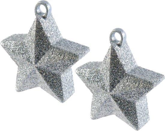 2x stuks ballon gewichtjes zilveren glitter ster