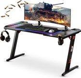 Gaming bureau XL met LED verlichting 140cm - TIJDELIJK GRATIS RGB muismat onderlegger XXL LED t.w.v. €50 - Z-poot - Computerbureau | For The Win® - Zwart