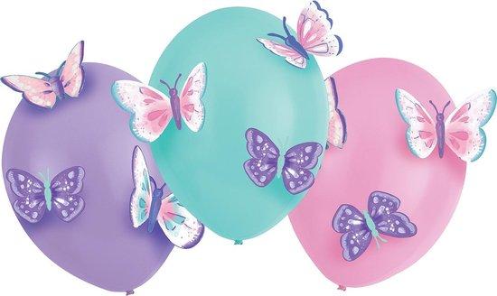 Amscan Ballonnen Flutter 35,5 Cm Latex Roze/lila/aqua 4-delig