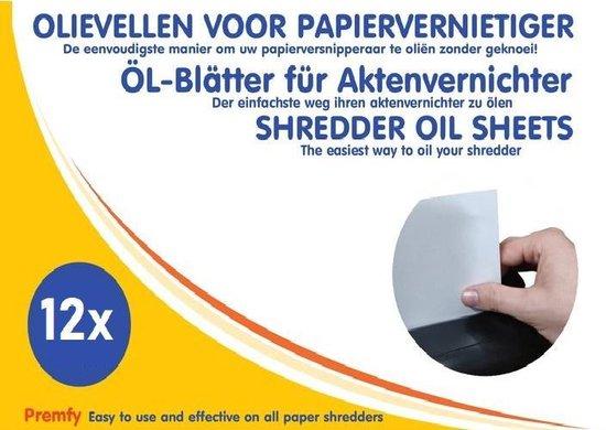 Premfy Olievellen voor papierversnipperaar 12 stuks - Olievellen papiervernietiger - Olie papierversnipperaar - Shredder Oil sheets 12 Pack