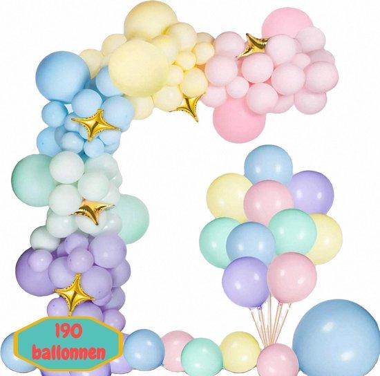 Baloba® Pastel Ballonnenboog Macaron Roze, Paars, Blauw, Groen & Geel ballonnen met Gouden Ster Folie Ballon - Feest Versiering Pakket - Verjaardag Bruiloft Decoratie - 190 Ballonnen