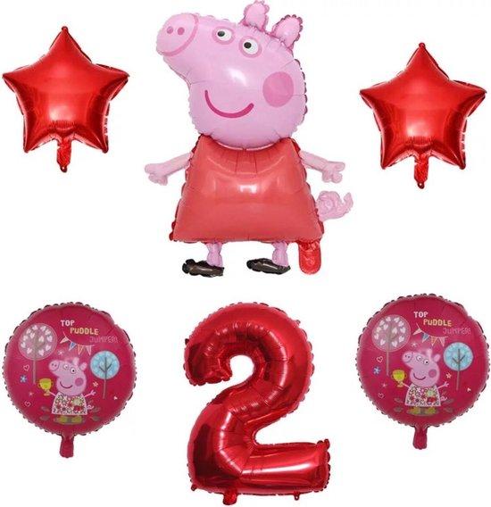 Peppa Pig folie ballonen 6 stuks  Decoratie Kinderen Verjaardag Ballon Nummer 2