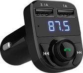 LifeGoods Draadloze FM Transmitter met Bluetooth - Auto Carkit met 2 Fast Charge USB Poorten en LED Scherm - Handsfree Bellen - Muziek Streamen - Voice Navigatie - Opladen - Geschikt voor Smartphone/iPhone/iPod/Samsung - Zwart