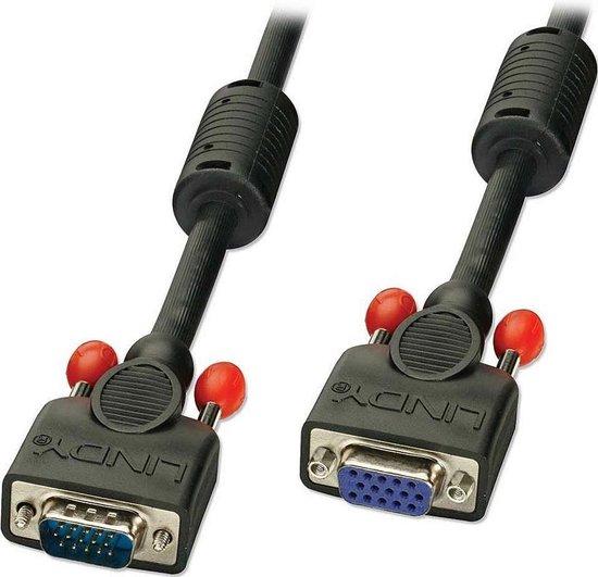 LINDY 36391 VGA Verlengkabel [1x VGA-stekker - 1x VGA-bus] Zwart 0.50 m