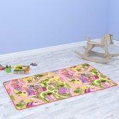 Kleurrijke Speeltapijt Roze Verkeerskleed kinderen 80x120cm - Speel tapijt kinderen - Verkeerskleed - Kleurrijke Speelkleed