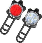 Oplaadbare LED-fietsverlichting - Set Koplamp Achterlichtcombinaties - LED Fietslicht - Set van 2 USB-kabels, 4 licht modus - Waterbestendig - Rheme