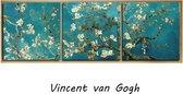 SET van 3 stuks Canvas Schilderij Vincent Van Gogh: Almond Blossom - Kunst aan je Muur - Kleur - 3 stuks elk 50 x 50 cm