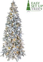 Kerstboom met versiering Easy Set Up Tree® LED Avik Decorated Frosted Shiny Mint 210 cm - Luxe uitvoering - 310 Lampjes