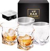 Whiskey Glazen Set van BarDeluxe® - 4 Stuks Kristallen Glazen - Handgemaakt - Luxe Geschenkdoos - Inclusief Premium IJsblokjesvorm - Cadeau voor Man