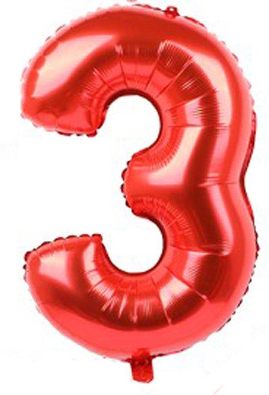Folieballon / Cijferballon Rood XL - getal 3 - 82cm