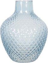 Vaas - Blauw Glas Glazen Vaas Ø 21*25 cm -  Bloempot Binnen - Clayre & Eef