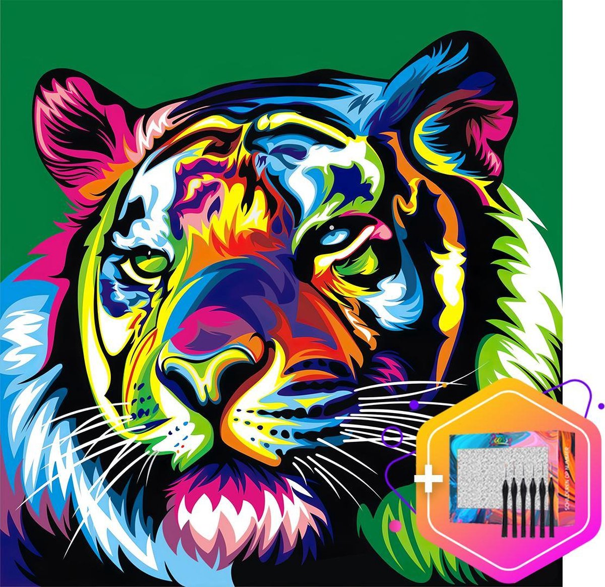 Pcasso ® Tijger Multicolor Groen - Schilderen Op Nummer - Incl. 6 Ergonomische Penselen En Geschenkverpakking - Schilderen Op Nummer Dieren - Schilderen Op Nummer Volwassenen - Canvas Schilderdoek - Kleuren Op Nummer - Paint By Number - 40x50 cm