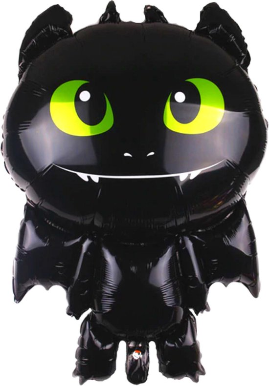 Tandloos Ballon - 82 x 59 cm - Hoe Tem Je Een Draak - How To Train Your Dragon - Tandloos - Toothless - Draken - Draak Ballon - Ballon Groot - Ballon Film - Grote Ballon