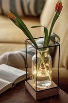 Xaptovi Vaaslamp met LED verlichting - Vaas – Leuk Cadeau Houten basis, glazen vaas zwart metalen frame – 11 x 11 x 22,5 cm.- tafellamp - Werkt op 3 AAA batterijen (excl.)