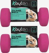 Zachte Dumbbells Pink   Dumbbell set   2x 1kg   Dumbells 1 kilogram   Roze   Arm Oefeningen   Thuis Gym