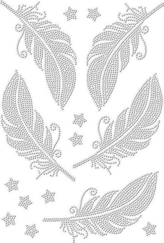 Strass Rhinestone Veren Strijk Applicatie 15 x 6,5 cm