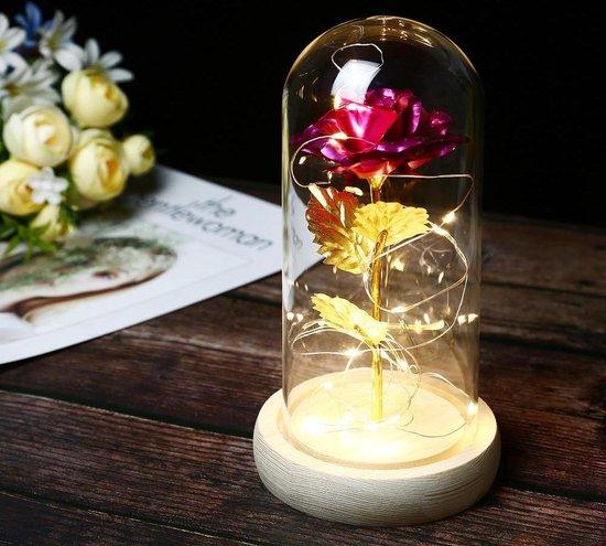 Levens echte zijden roos in glazen stolp met LED - Beauty and the Beast - Trouw & Liefde Cadeau