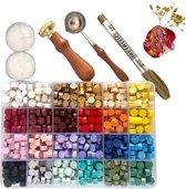"""LoveSeals 600 stuks set - 24 kleuren Was Zegels - Wax Stempel  """"With Love"""" - Goud Stift - Bekend Van Tiktok"""