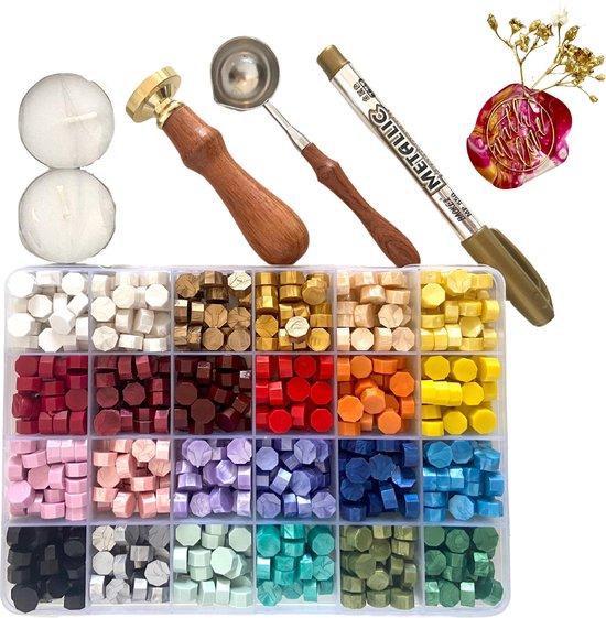Afbeelding van LoveSeals 600 stuks set - 24 kleuren Was Zegels - Wax Stempel  With Love - Goud Stift - Bekend Van Tiktok speelgoed