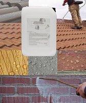 impregneer middel buiten muur werkt min 5 jaar verhelpen: vochtige muren, corrosie, vorstschade, vervuiling, kalk-zoutuitslag warmteverlies. aangebracht op bak, klinkers, zand, beton ,steen gasbeton natuursteen asbest dakpannen. Is kleurloos silicone
