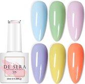 De Sera Gellak 6-delige Set - Gel Naggellak - Pastel Edition - Gellac - 10ML - Pastel Kleuren