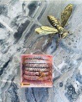 LXRY Silk - 6 kleine zijden scrunchies / haarelastiekjes - ivoor / champagne / rosé