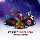 Set van 3 Rekbare Super Hero  Mondkapjes - Kindermaat S (kids t/m 9 jaar) - Niet-Medisch - Wasbaar - Herbruikbaar - Spider-Man - Iron Man - Captain America - Super helden