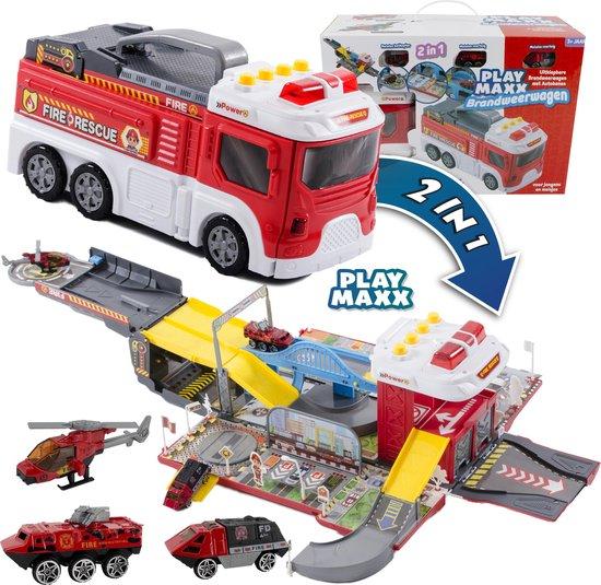 2 in 1 Brandweerwagen en Brandweerstation - Uitklapbaar - Licht & Geluid - Autobaan - Auto Speelgoed Jongens - Brandweer vrachtwagen - Brandweerauto Station met Accessoires - Incl. Helikopter en Auto's - PlayMaxx