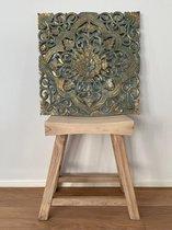 Flowee Houten Mandala - Patrol met goud - Small 60x60 - Wanddecoratie - Wandpaneel
